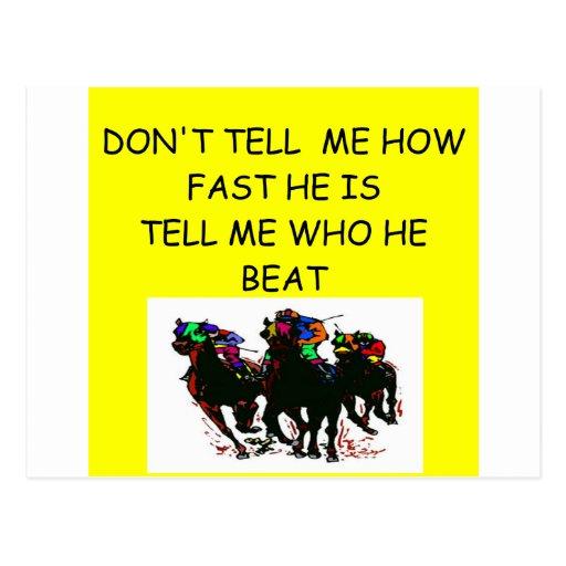 HORSE racing joke Postcard