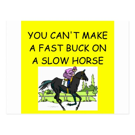 HORSE racing joke Post Card
