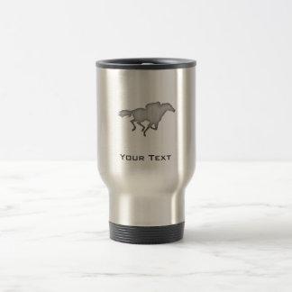 Horse Racing; metal-look Stainless Steel Travel Mug