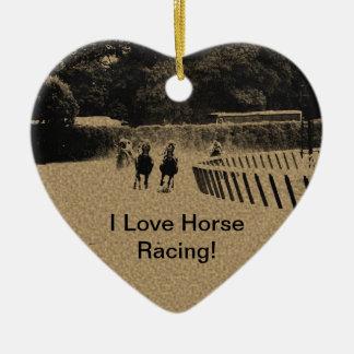 Horse Racing Muddy Track Grunge Ceramic Heart Decoration