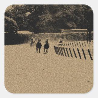 Horse Racing Muddy Track Grunge Square Sticker