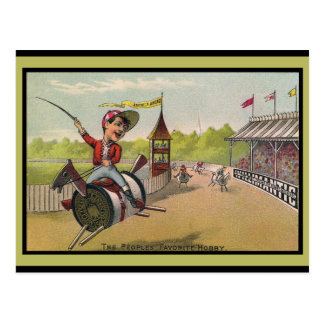 Horse Racing on Thread Spools Postcard