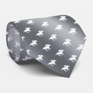 Horse Racing Pattern | Graphic Silver Tie