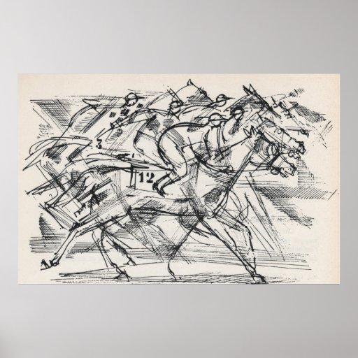 Horse racing poster print