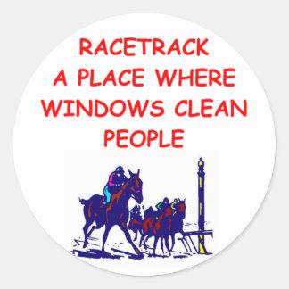 horse racing round sticker