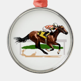 Horse Racing Scene Silver-Colored Round Decoration