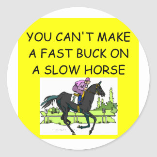 horse racing round sticker