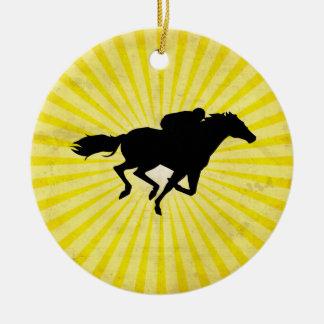 Horse Racing; yellow Round Ceramic Decoration