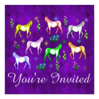Horse Rainbow 13 Cm X 13 Cm Square Invitation Card
