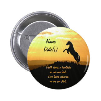 Horse Rearing Silhouette At Sunrise 6 Cm Round Badge