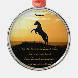 Horse Rearing Silhouette At Sunrise Christmas Ornament