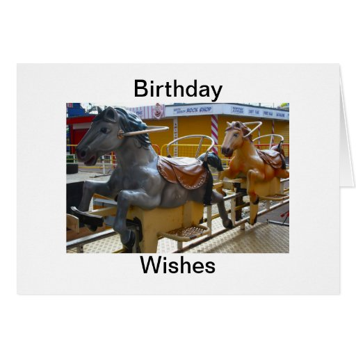 Horse Ride at a Funfair Birthday Wishes Cards