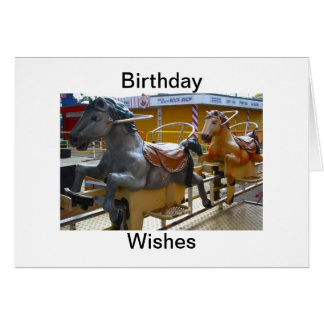 Horse Ride at a Funfair Birthday Wishes Greeting Card