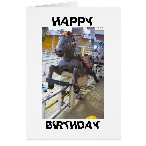 Horse Ride at a Funfair Happy Birthday Card