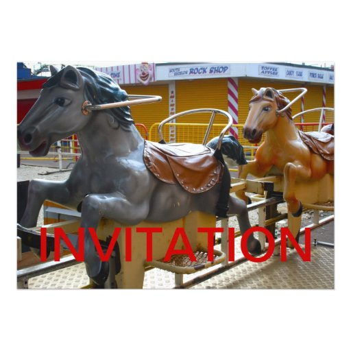 Horse Ride at a Funfair Happy Invitation