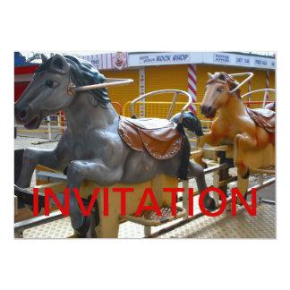 "Horse Ride at a Funfair Happy Invitation 5"" X 7"" Invitation Card"