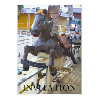 "Horse Ride at a Funfair Invitation 5"" X 7"" Invitation Card"