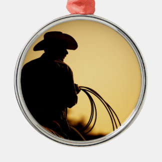 Horse Rider and Rope into the Sunset Silver-Colored Round Decoration