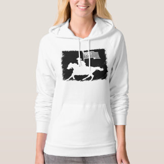 Horse Rider Carrying American Flag Hoodie