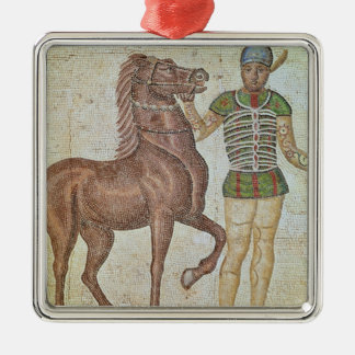 Horse rider in racing colours Silver-Colored square decoration