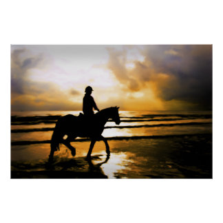 HORSE RIDER ON BEACH POSTER