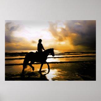 HORSE RIDER ON BEACH PRINT