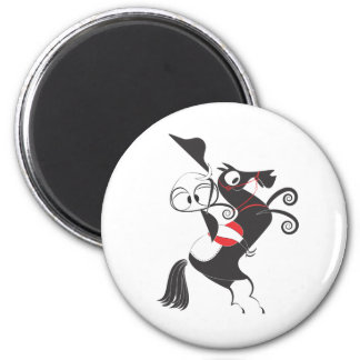 Horse rider performing pirouette rearing up magnet