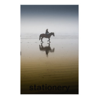 Horse riders at the beach personalised stationery