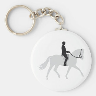 horse riding basic round button key ring