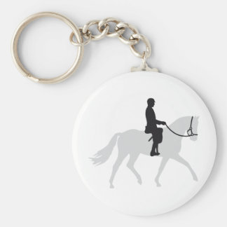 horse riding basic round button key ring
