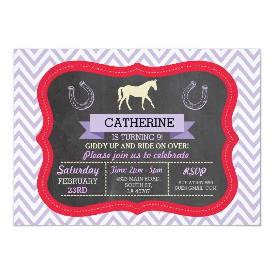 Horse Riding Party Invite Pony Red Invitation