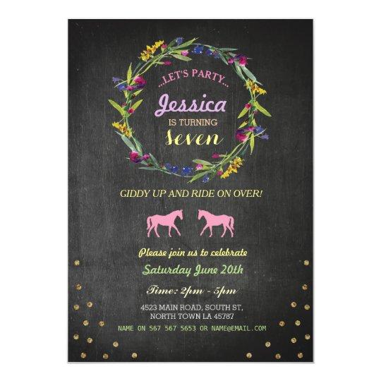 Horse Riding Party Invite Pony Wreath Invitation