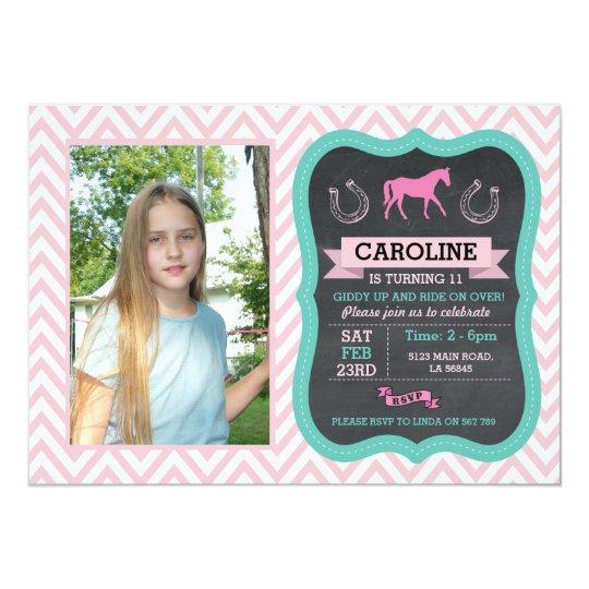 Horse Riding Photo Pony Pink Invitation Invite
