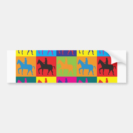 Horse Riding Pop Art Bumper Sticker