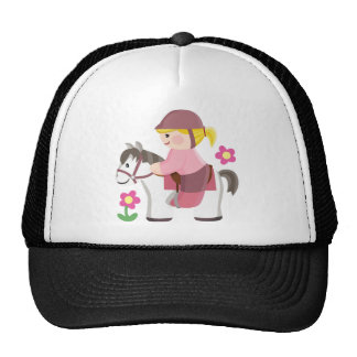 Horse riding white horse blond girl cap