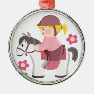 Horse riding white horse blond girl christmas ornament