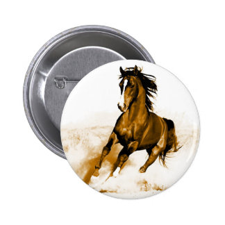 Horse Running 6 Cm Round Badge