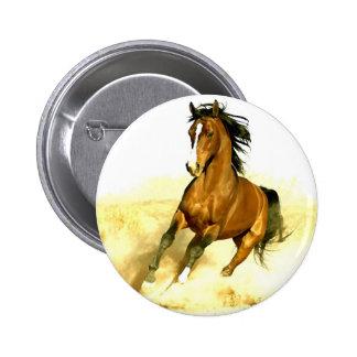 Horse Running 6 Cm Round Badge