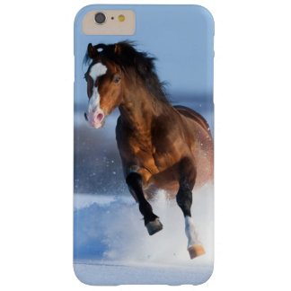 Horse running across the field in winter barely there iPhone 6 plus case