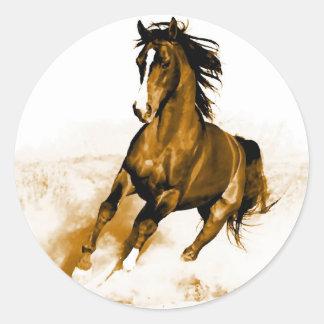 Horse Running Classic Round Sticker