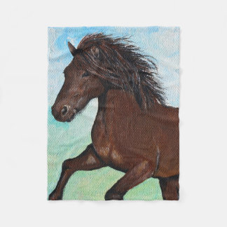Horse Running Free Fleece Blanket
