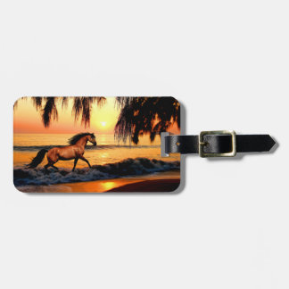 Horse running on sunset beach luggage tag