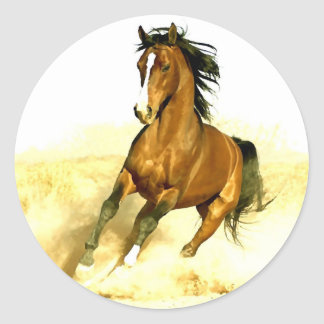 Horse Running Round Sticker