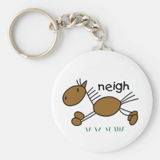Horse Says Neigh Tshirts and Gifts Basic Round Button Key Ring