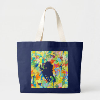 Horse Shape Colorful Splash Large Tote Bag