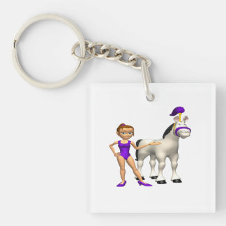 Horse Show Double-Sided Square Acrylic Key Ring