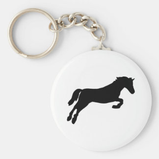 Horse - Show Jumping Basic Round Button Key Ring