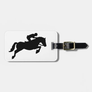 Horse show jumping luggage tag
