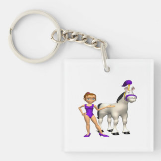 Horse Show Single-Sided Square Acrylic Key Ring