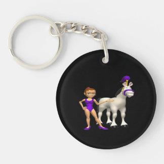 Horse Show Double-Sided Round Acrylic Key Ring